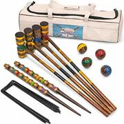 Crown Sporting Goods Vintage Croquet - Classic Outdoor Game 4 Players - Wooden