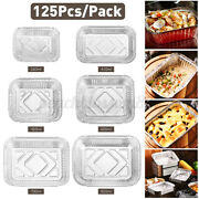 125pcs Foil Tin Box Durable Disposable Lunch Tray Container Food Holder Bbq Cn