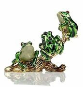 3 Frog Figurines Collectibles Jewelry Box Decorative Hinged Trinket Green_5