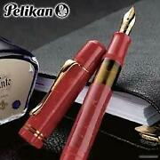 Pelican Limited Edition M101n Bright Red Fountain Pen Ef Ultra-fine Characters