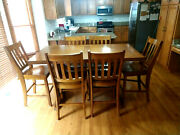 Wooden Rustic Trestle Dining Table With Six Chairs