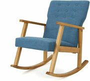Christopher Knight Home Harvey Mid-century Modern Fabric Rocking Chair, Muted Bl