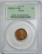 1909 S Vdb 1c Lincoln Wheat Cent Pcgs Xf 40 Extra Fine Ogh Key Date