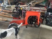 Rare Vintage Orange Red Unique 1953 Bantham Garden Tractor W/ Plow Manual And More