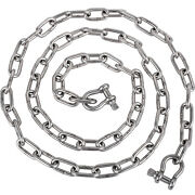Vevor 316 Stainless Steel 1/4 X 6 Ft Boat Anchor Lead Chain W/ 3/8 2 Shackles