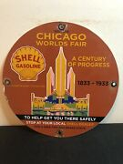 Porcelain Chicago Worlds Fair Shell Gasoline Gas And Oil Sign