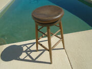 Old Antique Vintage Industrial Swivel Stool Oak Wood 32 Tall 16 Round Seat