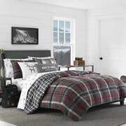 King Size 3 Piece Red Plaid Reversible Cabin Style Soft Cotton Bed Comforter Set