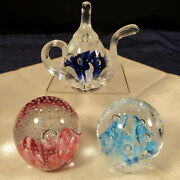 Vintage Lot Of 3 Gibson Hand Blown Glass Paperweight 1999 Teapot 1997 Egg Shaped