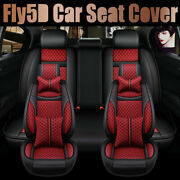 Fly5d Fashion Red Pu Leather Seat Covers Set Universal Auto Cushions Car Decor