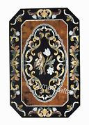Black Marble Dining Table Top Pietra Dura Art Patio Table For Home 30 X 48 Inch