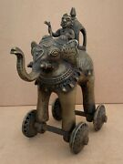 1700and039s Rare Original Old Bronze Solid Man Riding Elephant Sculpture Statue