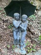 Bronze 2 Kids With An Umbrella Statue From A Hudson River Estate- Ce113