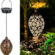 Water Drop Wrought Iron Garden Lawn Solar Lamp Olive Shape Hanging Outdoor New