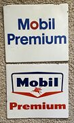 Two Original And Authentic Mobile Premium 13.75x12 Inch Gas And Oil Signs