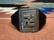 Vtgnavajo Style Tom Dewitt Whirling Log Thunderbird Arrows Sterling Leather Cuff