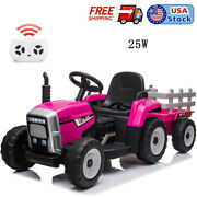 Nasitip 12v Kids Electric Battery-powered Ride On Toy Tractor With Trailer, Rose