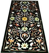 Black Marble Patio Sofa Table Marquetry Art Dining Table Top For Home 30x60 Inch
