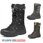 Womens Winter Snow Boots Waterproof Faux Fur Warm Boots Lace Up Boot Shoes