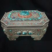 Antique Filigree 925 Silver Jewelry Box With Gemstones Turquoise And Coral