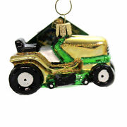 Old World Christmas Riding Lawn Mower Glass Small Tractor Cut Grass 46085