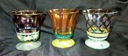 Rare 3 Mackenzie -childs 1983 Collectible Drinking Glasses Footed Retired