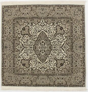 Plush Hand-knotted Kirman Square 5x5 Floral Design Area Rug Oriental Wool Carpet