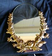 Vtg Syroco Wood Hanging Stand Alone Mirror Oval Hollywood Regency Gold Roses