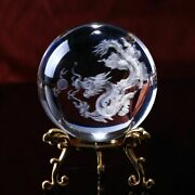 3d Laser Dragon Crystal Ball Engraved Glass Globe Feng Shui Home Decoration Gift