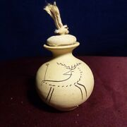Native American Clay Oil Burner Decanter W Hunting Designs - New