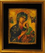 Byzantine Madonna And Child, Framed, 11x13, Religious, Antique, Vintage