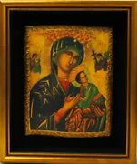 Byzantine Madonna And Child Framed 11x13 Religious Antique Vintage