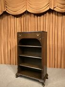 Antique Wood Wooden Display Book Case Cabinet Shelf Open Front Drawer Mahogany