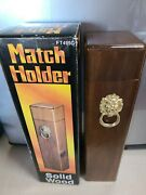 Vintage Wood And Brass Lion's Head. Fireplace Long Matches Holder Box.