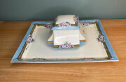 Art Nouveau Limoges Porcelain Hand Painted Dresser Tray And Box C Martin And Duches