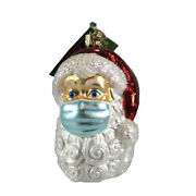 Old World Christmas Santa With Face Mask Glass Ornament Pandemic 40319