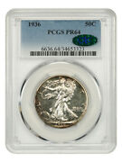 1936 50c Pcgs/cac Pr 64 - Scarce First-year Walker Proof