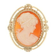 Yellow Gold Carved Shell Cameo Brooch/pendant - 14k Convertible Silhouette Pin