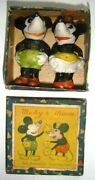 Vintage Walt Disney Mickey And Minnie Mouse Bisque Statue Figurines In Box 1930s