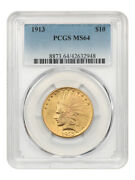 1913 10 Pcgs Ms64 - Great Type Coin - Indian Eagle - Gold Coin
