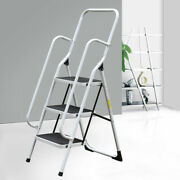 Three-layer Folding Ladder Non Slip Safety Tread Industrial Home Use 150kg Load