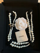 Authentic Timeless Classic Cc Silver Pearl Necklace