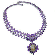 Marie Antoinette's Style Authentic African Amethyst .925 Sterling Silver Handcr