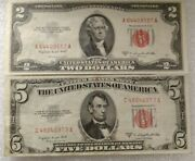 2 1953b's 5 And 2 Dollar Red Seal United States Notes