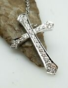 18kt White Gold Diamond Cross Pendant By Honora W/ Cable Link Chain