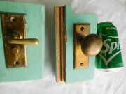 Small Antique Solid Brass 1 3/4 Knob Mortise Lever Handle Dead Bolt Lock 1