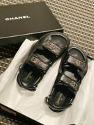 New 21c 37 7 Dad Sandals Caviar Leather Black Shoes Flats Gold Brooch Hot