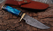 Custom Hand Forged Damascus Steel Hunting Knife W/resin And Brass Guard Handle