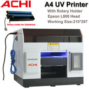 Achi A4 Uv Printer 6 Color Epson L800 Print Head And Rotary Holder Flat Printed 3d