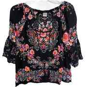 Bila Womenand039s Small Black Floral Boho Peasant Top Bell Sleeves Tassels Colorful